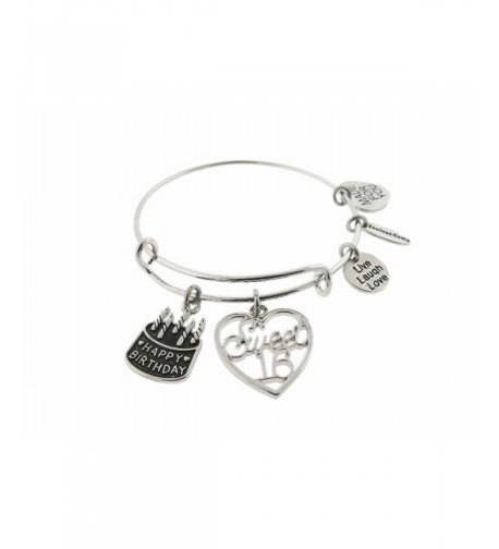 Happy Birthday Silver Expandable Bracelet