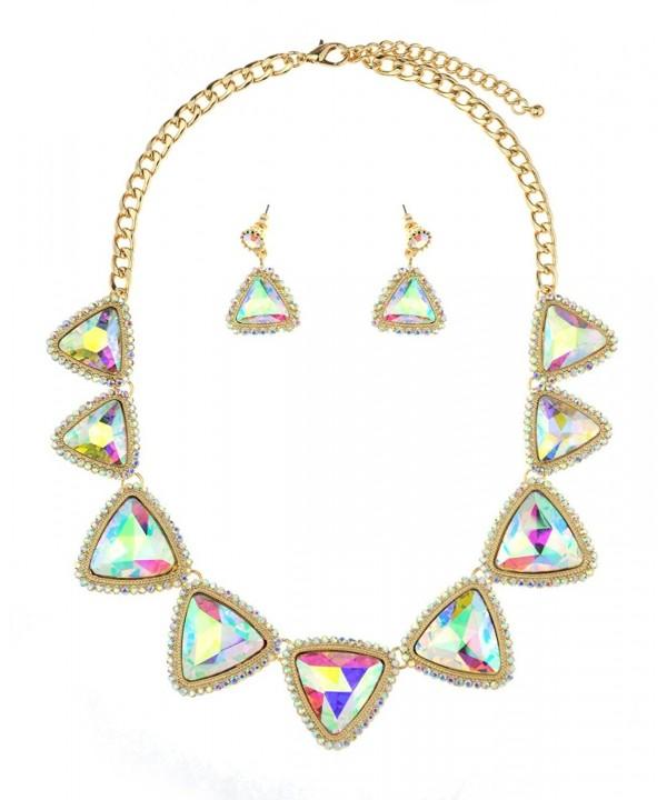 Triangular Gemstone Dangling Earrings Gold Tone
