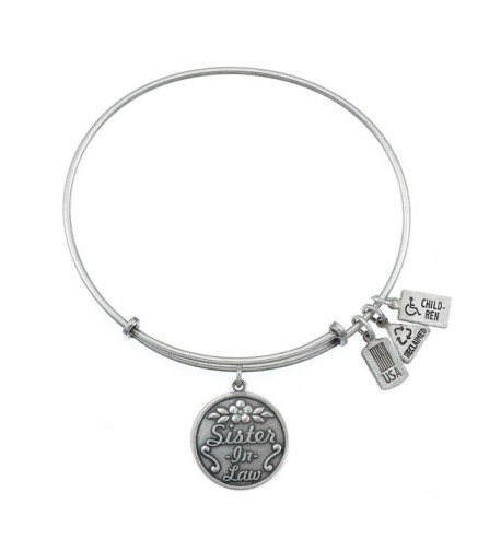 Sister In Law Charm Bangle Silvertone Finish