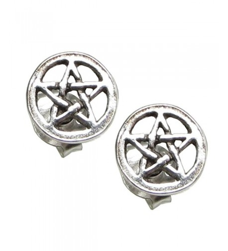Sterling Silver Pentacle Pentagram Earrings