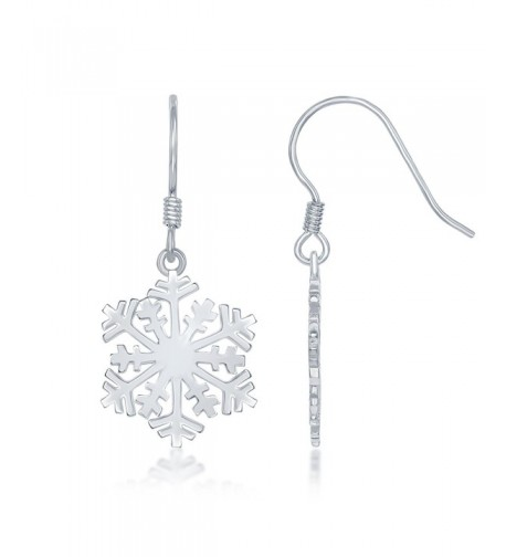 Sterling Silver High Polish Snowflake Earrings
