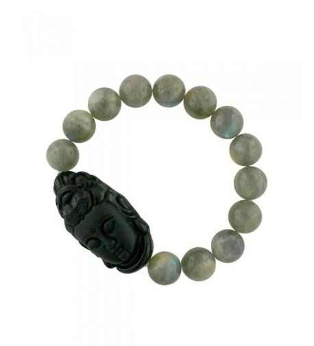 Guanyin Bracelet Carved Obsidian Labradorite