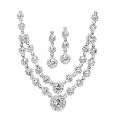 Mariell Rhinestone Necklace Earrings Bridesmaids