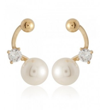 Simulated Pearl Cubic Zirconia Earring