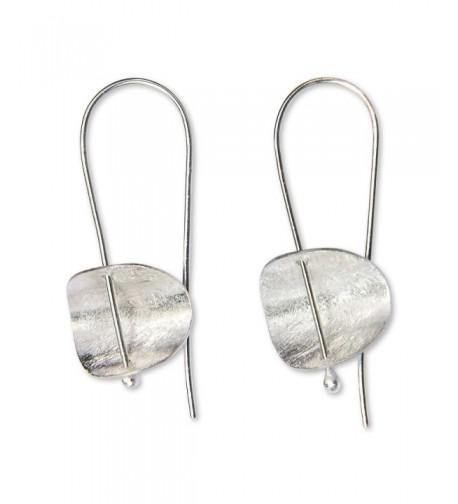 NOVICA Brushed Sterling Earrings Minimalism
