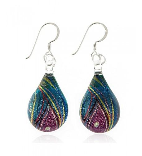 Sterling Painted Multi colored Teardrop Earrings