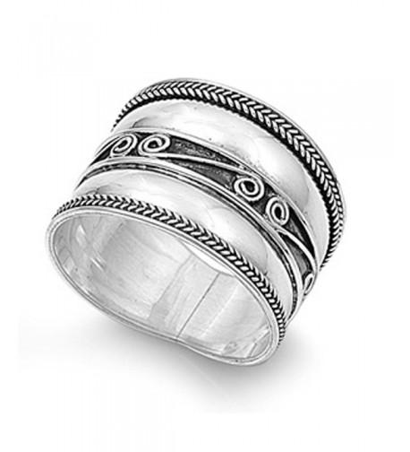 Sterling Silver Womens Swirl Oxidized