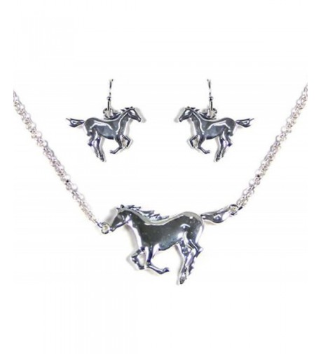Silvertone Horse Theme Necklace Earring