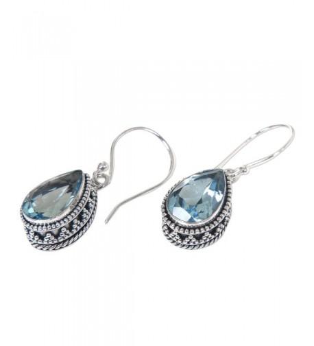 NOVICA Sterling Pear Shaped Earrings Sparkling