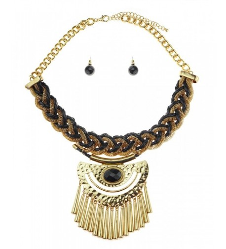 Bohemian Leather Braided Necklace Gold Tone