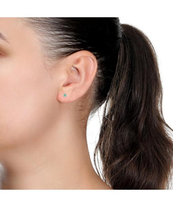 Round Natural Aquamarine Yellow Earrings
