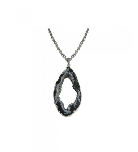 Sliced Agate Geode Pendant Necklace