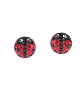 Ladybug Zirconia Sterling Silver Earrings