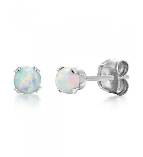 Round Fire White Simulated Earrings