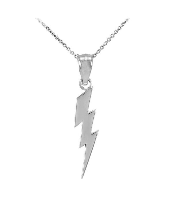Polish Sterling Lightning Pendant Necklace