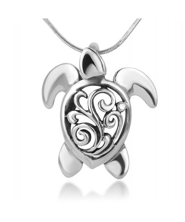 Oxidized Sterling Filigree Tortoise Necklace