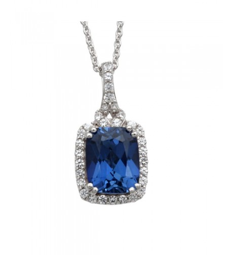 Jewelili Sterling Cushion Sapphire Necklace