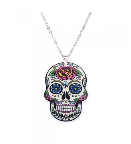 Flower Mexican Acrylic Pendant Necklace