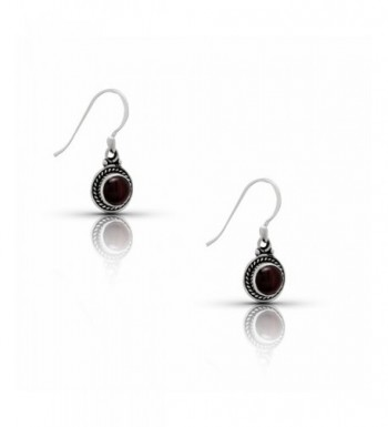 Garnet Dangle Earrings Sterling Silver
