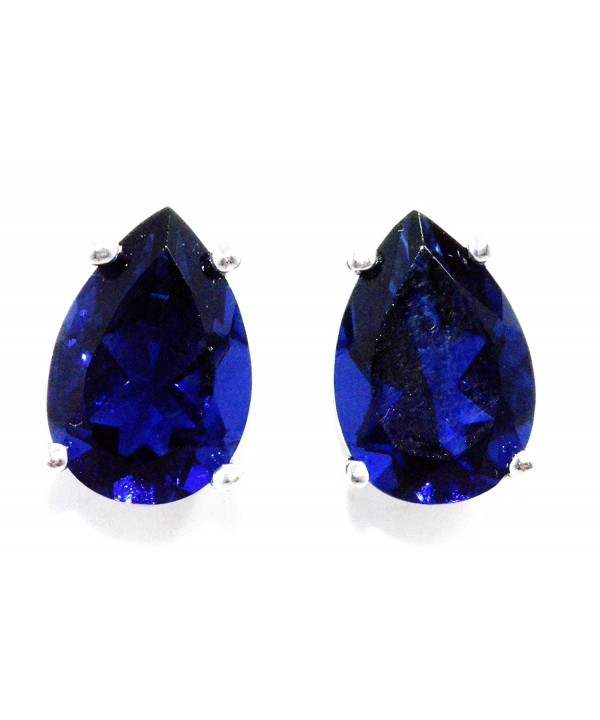 Created Sapphire Earrings Sterling Rhodium