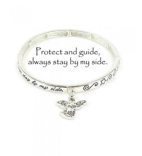 Silvertone Guardian Angel Stretch Bracelet