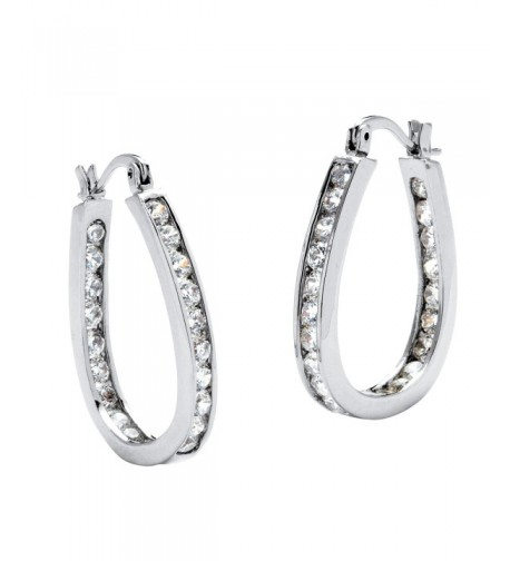 Silver Inside Channel Earrings Zirconia