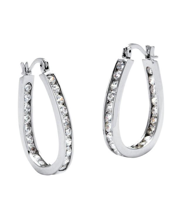 Silver Inside Channel Earrings Zirconia