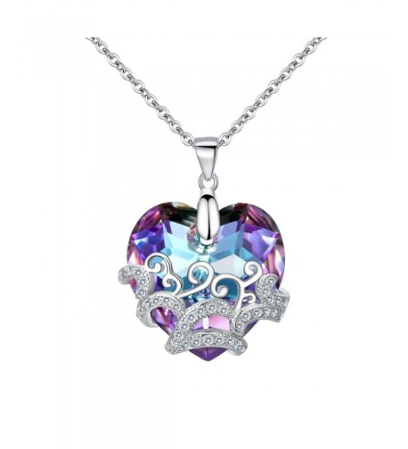 BriLove Sterling Filigree Necklace Swarovski