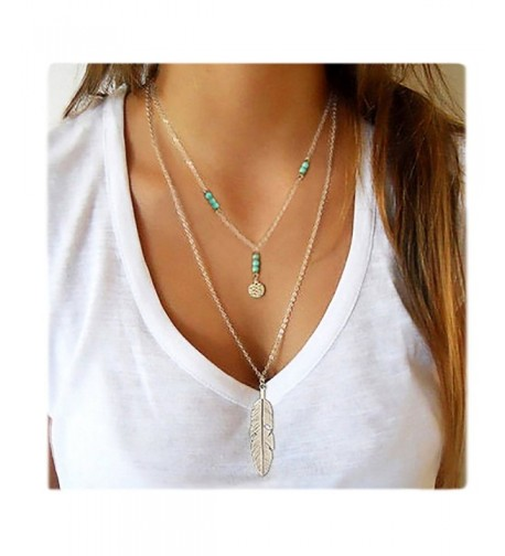 Wowanoo Layered Pendant Necklace Feather