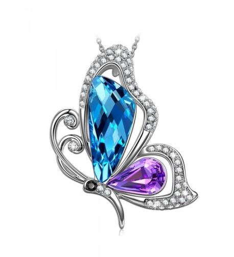 SIVERY Mothers Butterfly Necklace Swarovski