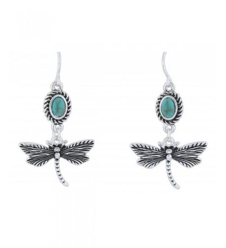 LOLO Silver Tone Imitation Turquoise Dragonfly
