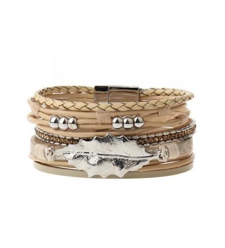 Beige Leather Wrap Bracelet Valentines