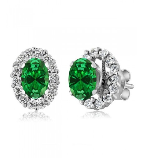 Simulated Emerald Sterling Earrings Jackets