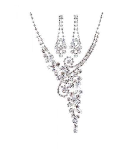 ACCESSORIESFOREVER Wedding Rhinestone Luxurious Necklace