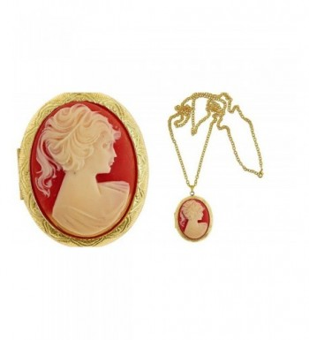 Carnelian Madonna Cameo Locket Fashion