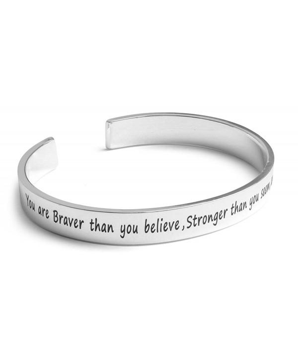 Inspirational Silver Cuff Bracelet Motivational