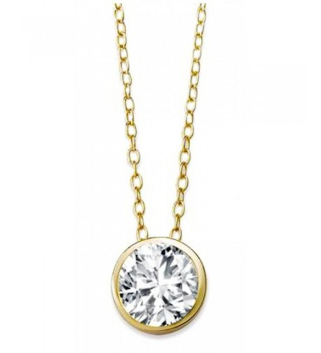 Solitaire Pendant Necklace Sterling Silver