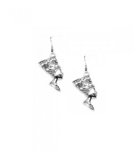 Antiqued Silver Nefertiti Egyptian Earrings