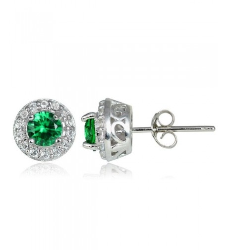 Sterling Silver Synthetic Emerald Earrings