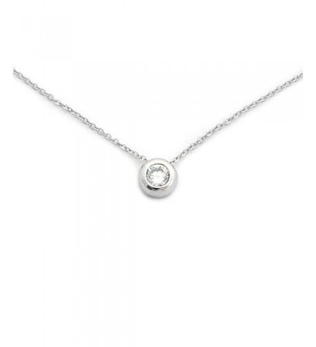 Sterling Rhodium Zirconia Solitaire Necklace
