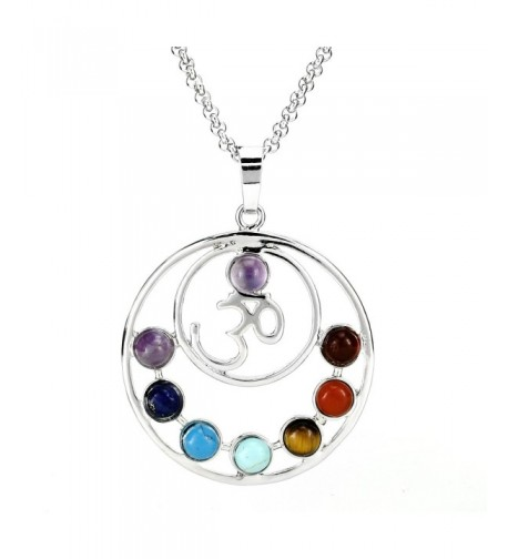 BEADNOVA Chakras Gemstone Necklace Stainless