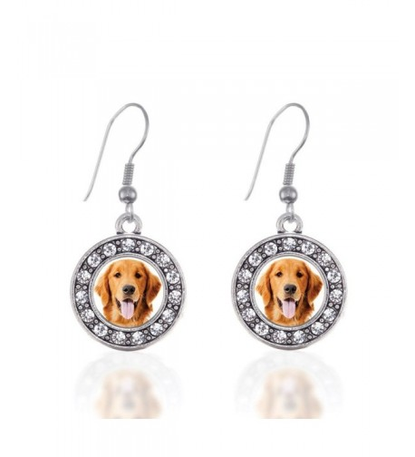 Golden Retriever Earrings Crystal Rhinestones