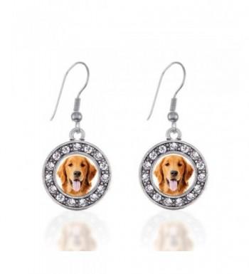 Golden Retriever Earrings Crystal Rhinestones
