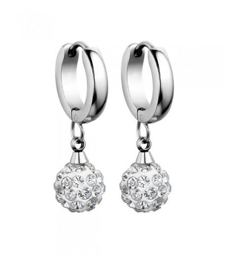 Flongo Stainless Rhinestone Princess Earrings