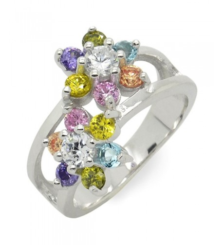 Sterling Silver Flower Wide Band