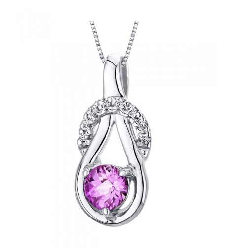 Created Sapphire Pendant Necklace Sterling