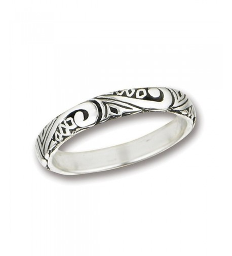 Scroll Wedding Sterling Silver Stackable