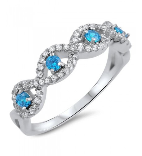 Simulated Sapphire Infinity Sterling Silver