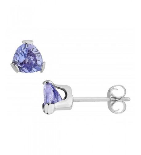 Trillion Tanzanite Earrings Sterling Silver