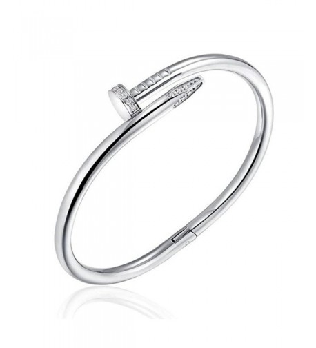 BazaarE Silver Stainless Nail Bangle Bracelet